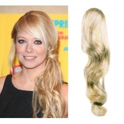 Clip in příčesek culík/cop 100% lidské vlasy 60cm vlnitý - platina