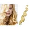Vlnité vlasy pro metodu Pu Extension / Tape Hair / Tape IN 50cm - nejsvětlejší blond