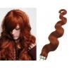 Vlnité vlasy pro metodu Pu Extension / Tape Hair / Tape IN 50cm - měděná