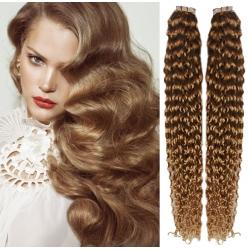 Kudrnaté vlasy pro metodu Pu Extension / Tape Hair / Tape IN 50cm - světle hnědé