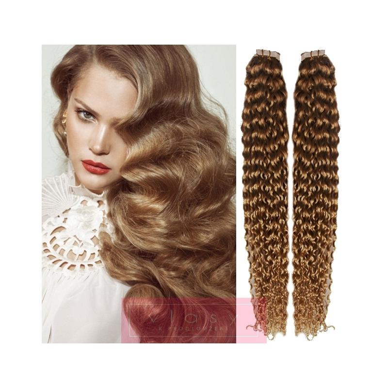Kudrnaté vlasy pro metodu Pu Extension   Tape Hair   Tape IN 50cm - světle  hnědé bb0880de1b0