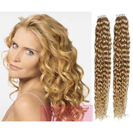 Kudrnaté vlasy pro metodu Pu Extension / Tape Hair / Tape IN 50cm - přírodní blond
