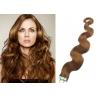 Vlnité vlasy pro metodu Pu Extension / Tape Hair / Tape IN 60cm - světle hnědé