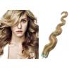 Vlnité vlasy pro metodu Pu Extension / Tape Hair / Tape IN 60cm - světlý melír