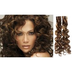 Kudrnaté vlasy pro metodu Pu Extension / Tape Hair / Tape IN 60cm - tmavý melír