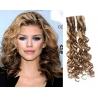 Kudrnaté vlasy pro metodu Pu Extension / Tape Hair / Tape IN 60cm - světlý melír