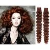 Kudrnaté vlasy pro metodu Pu Extension / Tape Hair / Tape IN 60cm - měděná