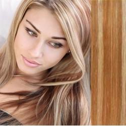 Vlasy pro metodu Pu Extension / TapeX / Tape Hair / Tape IN 40cm - světlý melír