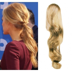 Clip in příčesek culík/cop 100% lidské vlasy 50cm vlnitý - přírodní blond