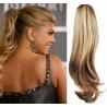 Clip in příčesek culík/cop 100% lidské vlasy 50cm vlnitý - přírodní / světlejší blond